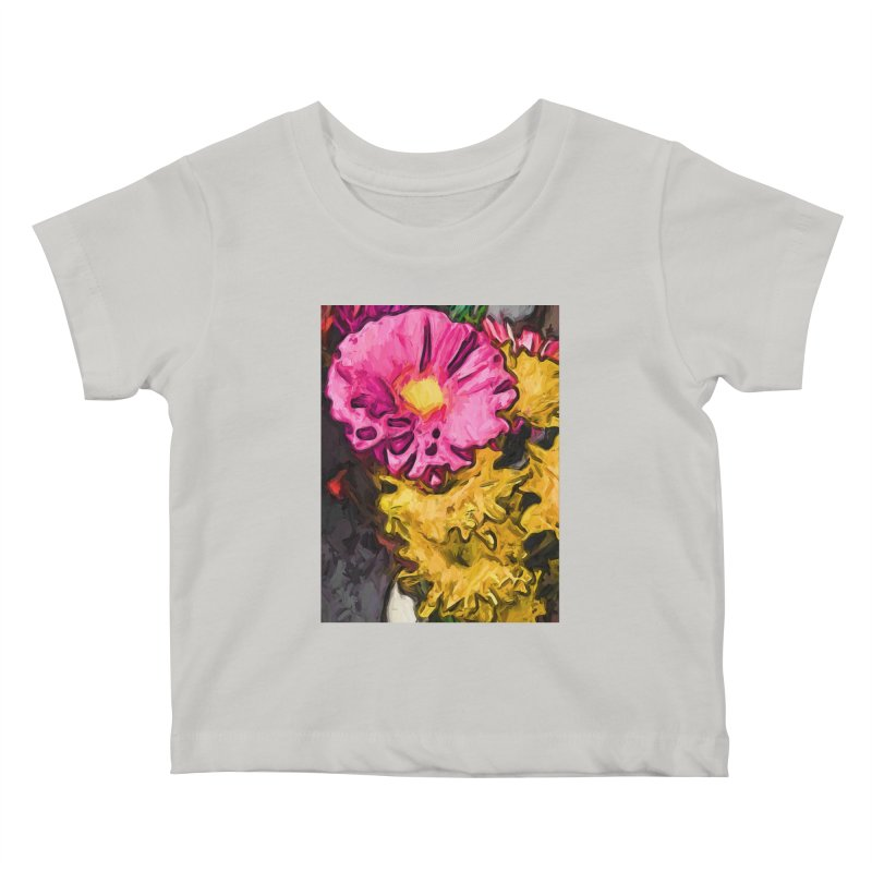 The Leaning Flowers of Pink and Yellow Kids Baby T-Shirt by jackievano's Artist Shop
