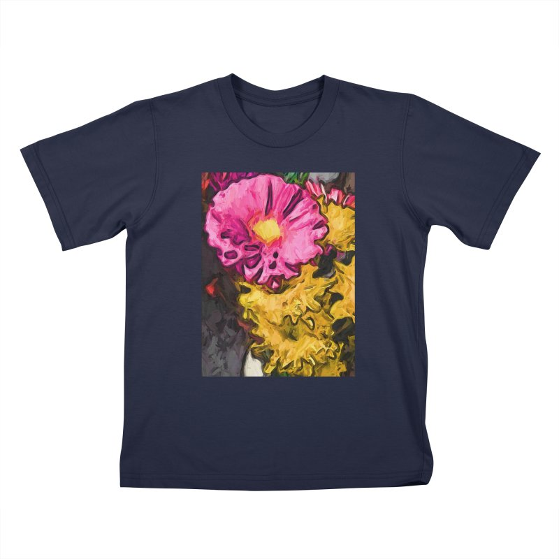 The Leaning Flowers of Pink and Yellow Kids T-Shirt by jackievano's Artist Shop
