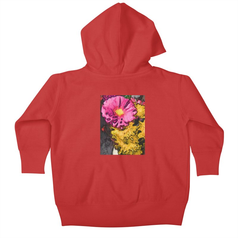 The Leaning Flowers of Pink and Yellow Kids Baby Zip-Up Hoody by jackievano's Artist Shop