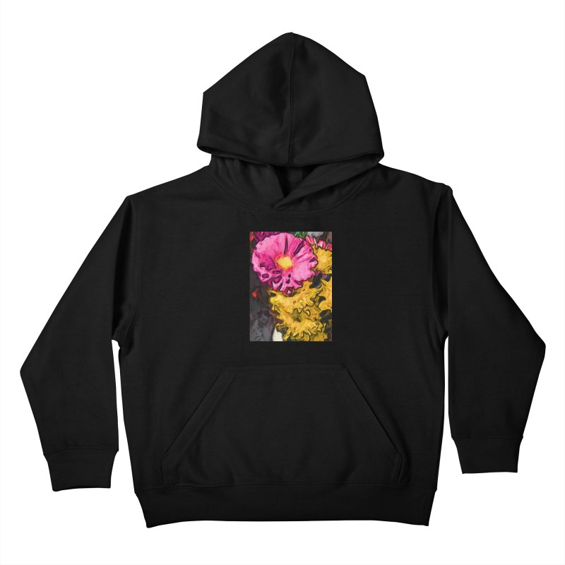 The Leaning Flowers of Pink and Yellow Kids Pullover Hoody by jackievano's Artist Shop