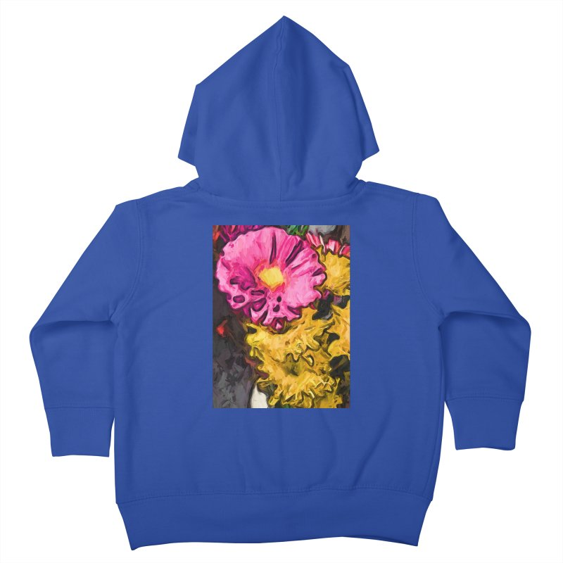 The Leaning Flowers of Pink and Yellow Kids Toddler Zip-Up Hoody by jackievano's Artist Shop