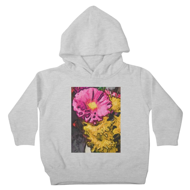 The Leaning Flowers of Pink and Yellow Kids Toddler Pullover Hoody by jackievano's Artist Shop