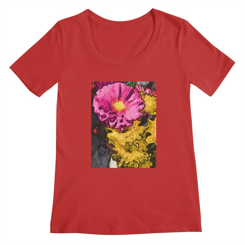 The Leaning Flowers of Pink and Yellow Women's Scoopneck by jackievano's Artist Shop