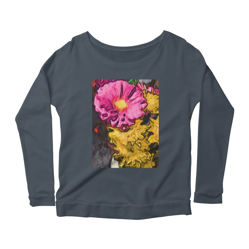 The Leaning Flowers of Pink and Yellow Women's Longsleeve Scoopneck  by jackievano's Artist Shop