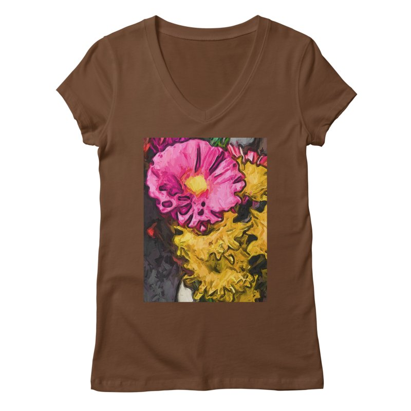 The Leaning Flowers of Pink and Yellow Women's V-Neck by jackievano's Artist Shop