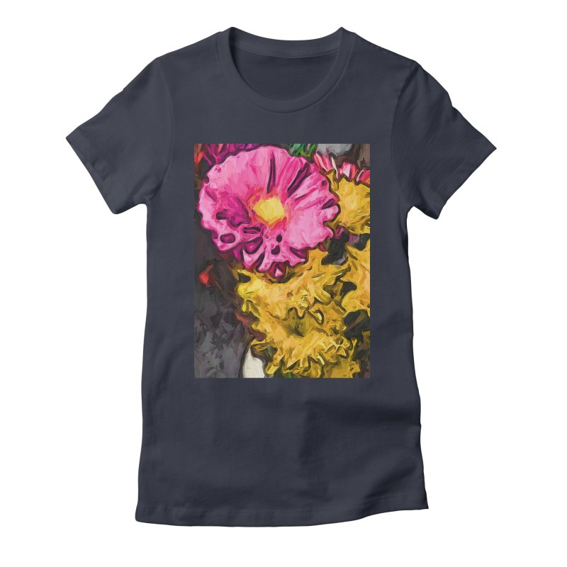 The Leaning Flowers of Pink and Yellow Women's Fitted T-Shirt by jackievano's Artist Shop