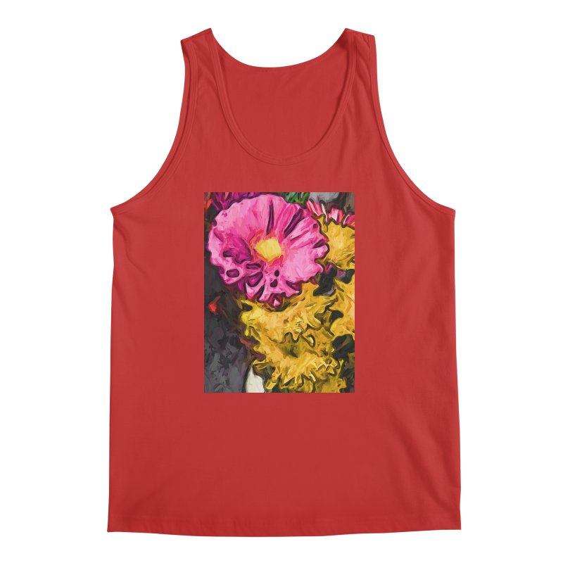 The Leaning Flowers of Pink and Yellow Men's Tank by jackievano's Artist Shop
