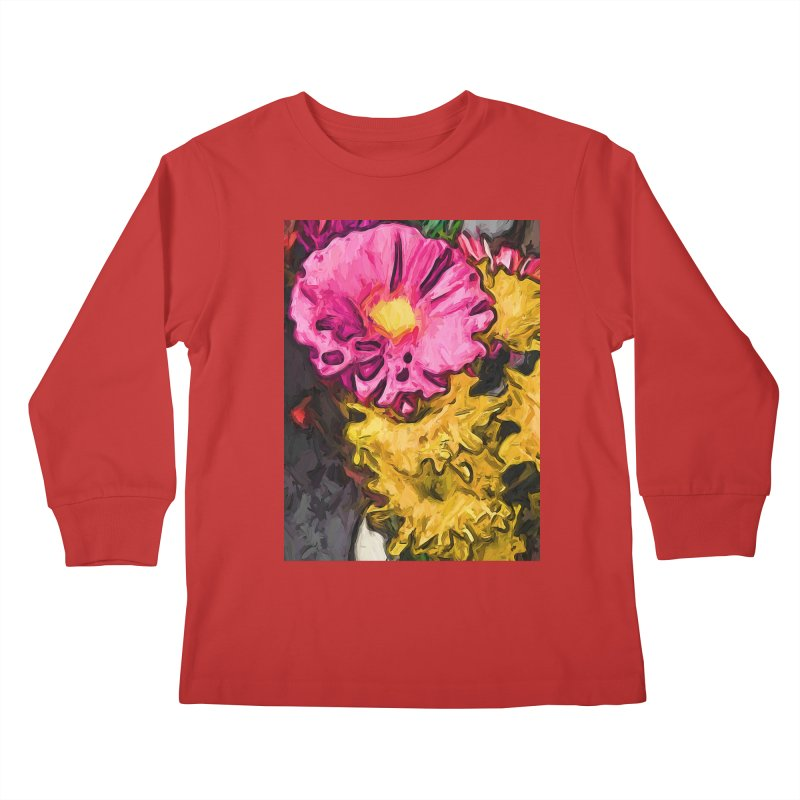 The Leaning Flowers of Pink and Yellow Kids Longsleeve T-Shirt by jackievano's Artist Shop