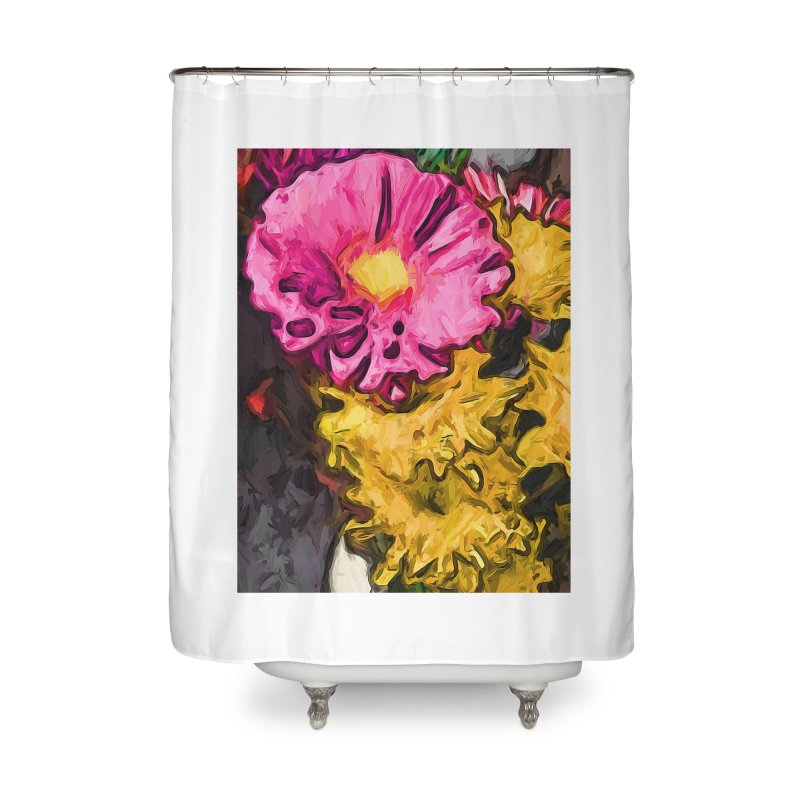 The Leaning Flowers of Pink and Yellow Home Shower Curtain by jackievano's Artist Shop