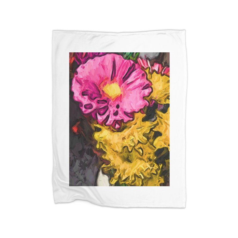 The Leaning Flowers of Pink and Yellow Home Blanket by jackievano's Artist Shop