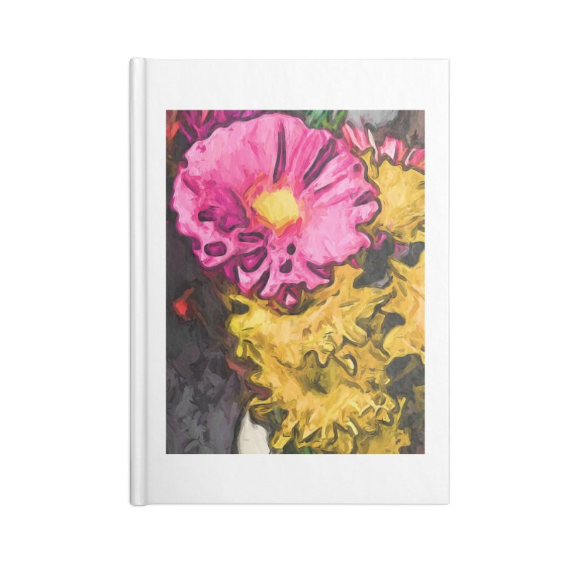 The Leaning Flowers of Pink and Yellow Accessories Notebook by jackievano's Artist Shop