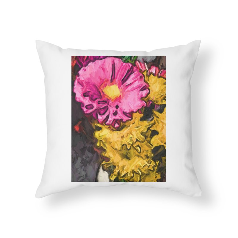The Leaning Flowers of Pink and Yellow Home Throw Pillow by jackievano's Artist Shop
