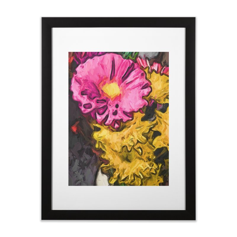 The Leaning Flowers of Pink and Yellow Home Framed Fine Art Print by jackievano's Artist Shop