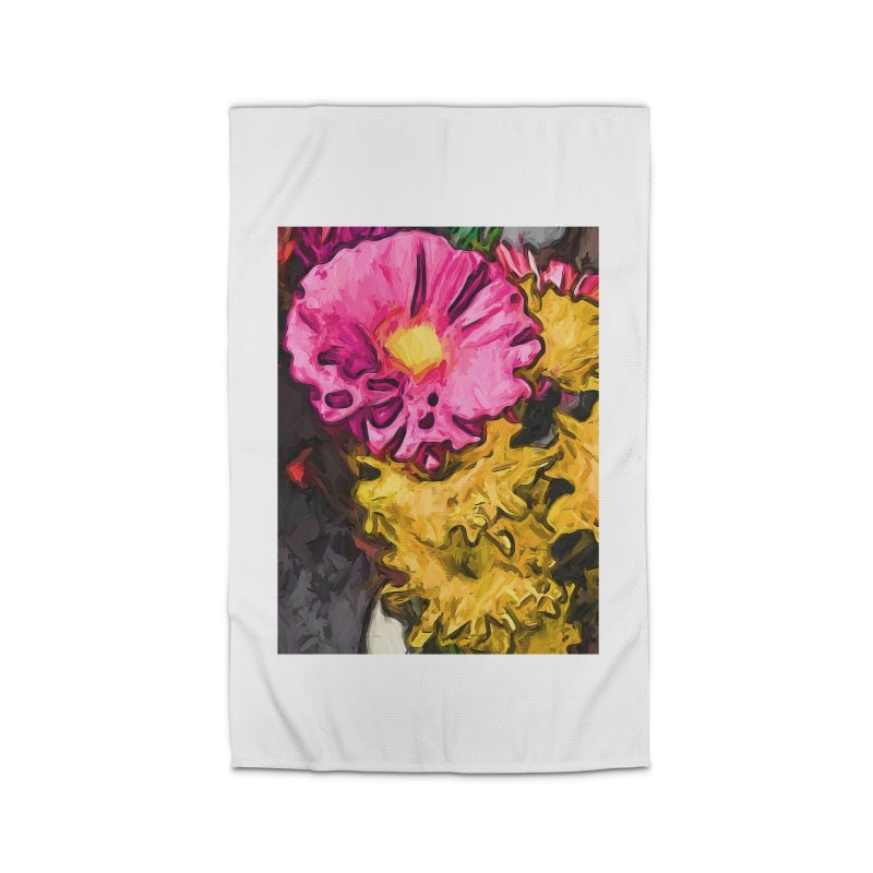 The Leaning Flowers of Pink and Yellow Home Rug by jackievano's Artist Shop