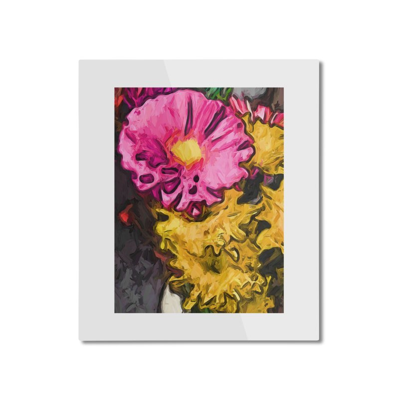 The Leaning Flowers of Pink and Yellow Home Mounted Aluminum Print by jackievano's Artist Shop