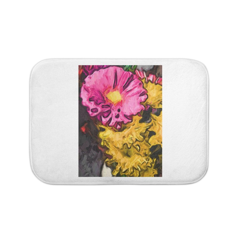 The Leaning Flowers of Pink and Yellow Home Bath Mat by jackievano's Artist Shop