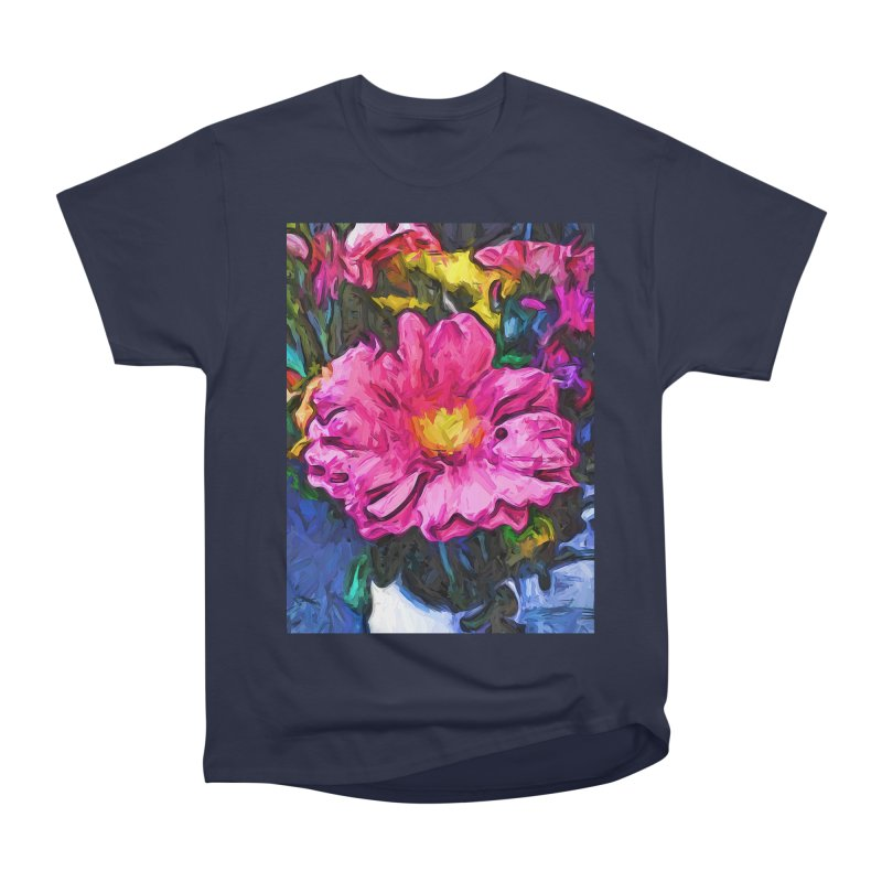 The Pink and Yellow Flower in the Vase Women's Heavyweight Unisex T-Shirt by jackievano's Artist Shop