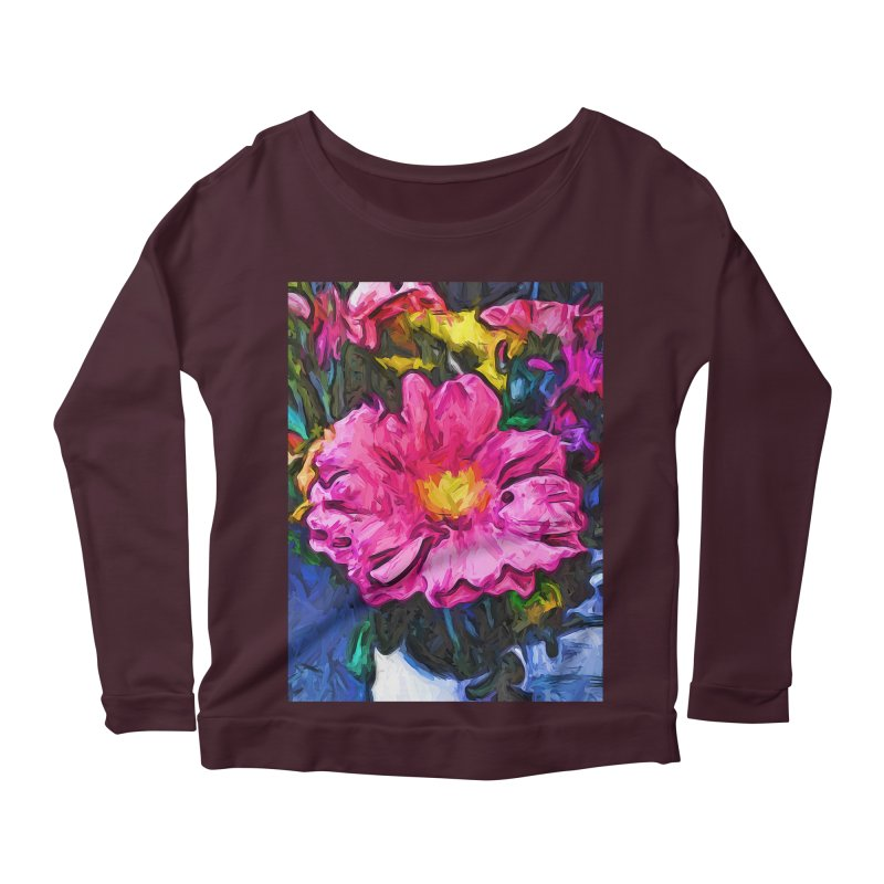 The Pink and Yellow Flower in the Vase Women's Longsleeve Scoopneck  by jackievano's Artist Shop