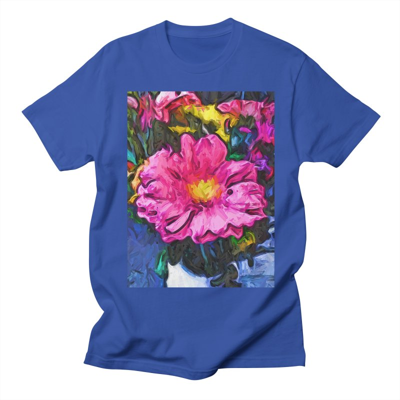 The Pink and Yellow Flower in the Vase Men's T-Shirt by jackievano's Artist Shop