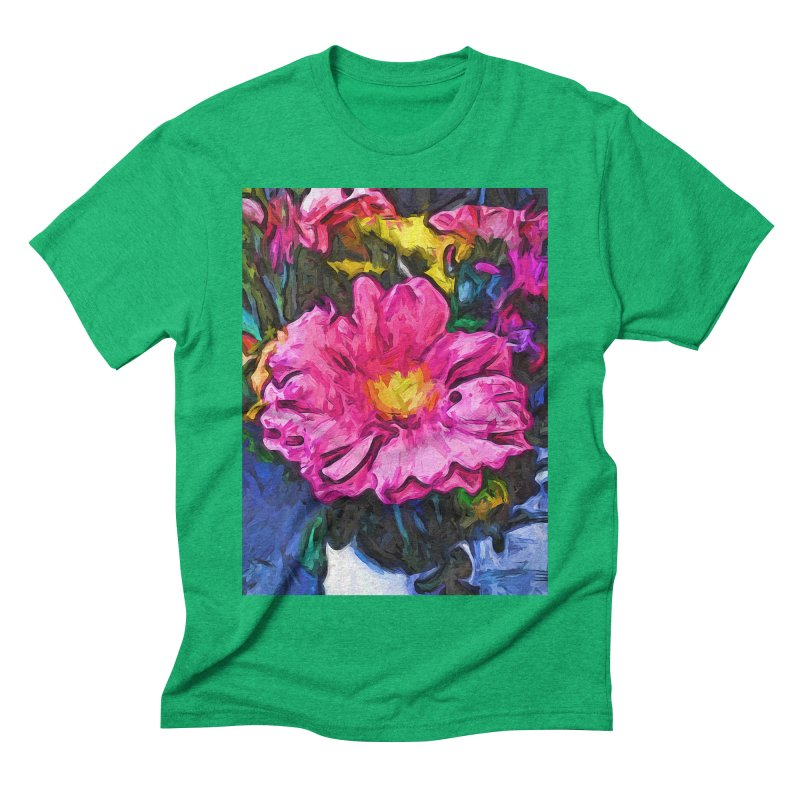 The Pink and Yellow Flower in the Vase Men's Triblend T-Shirt by jackievano's Artist Shop