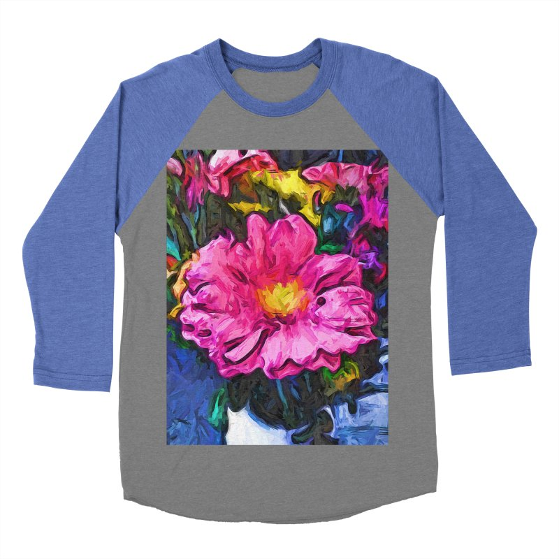 The Pink and Yellow Flower in the Vase Women's Baseball Triblend T-Shirt by jackievano's Artist Shop
