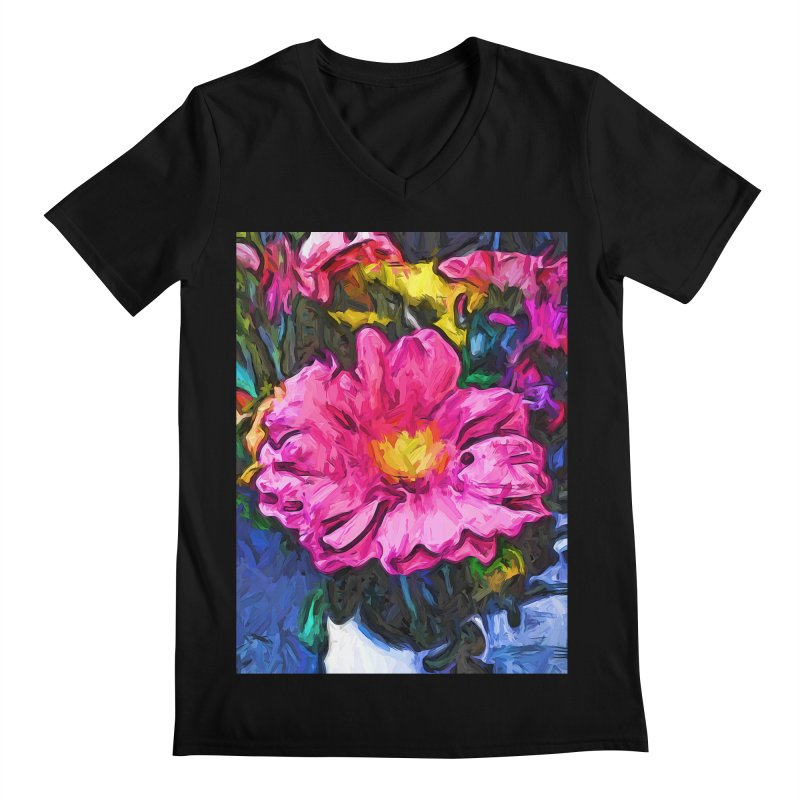 The Pink and Yellow Flower in the Vase Men's V-Neck by jackievano's Artist Shop