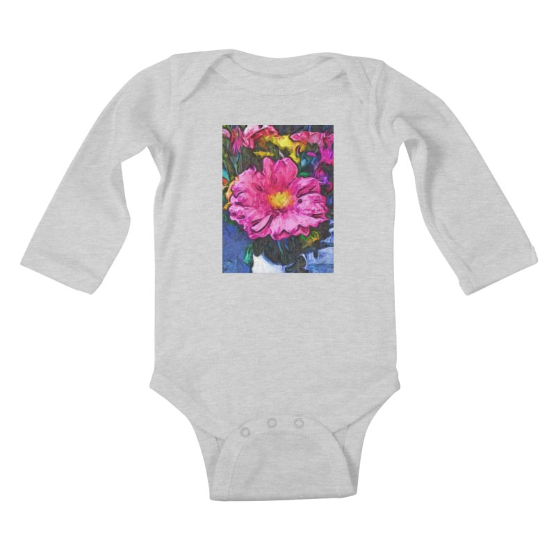 The Pink and Yellow Flower in the Vase Kids Baby Longsleeve Bodysuit by jackievano's Artist Shop
