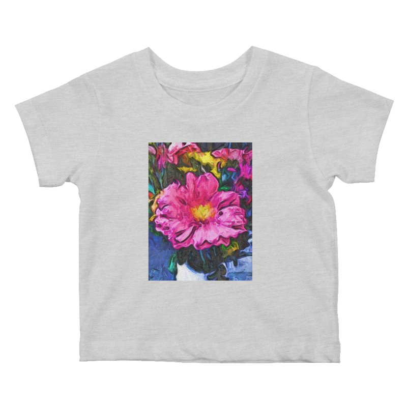 The Pink and Yellow Flower in the Vase Kids Baby T-Shirt by jackievano's Artist Shop