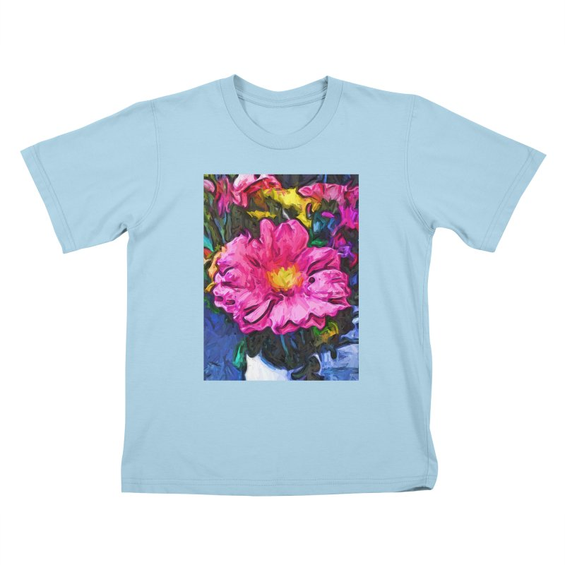 The Pink and Yellow Flower in the Vase Kids T-Shirt by jackievano's Artist Shop