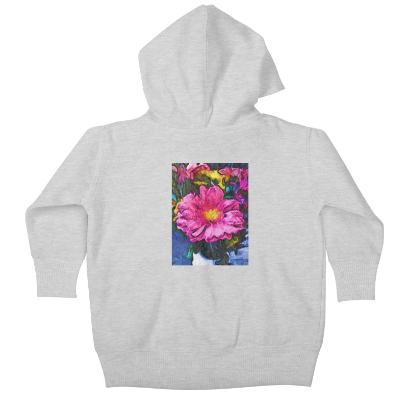 The Pink and Yellow Flower in the Vase Kids Baby Zip-Up Hoody by jackievano's Artist Shop