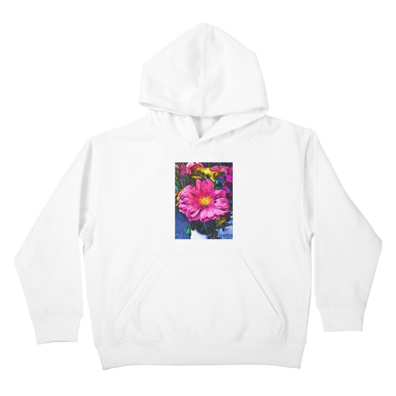 The Pink and Yellow Flower in the Vase Kids Pullover Hoody by jackievano's Artist Shop