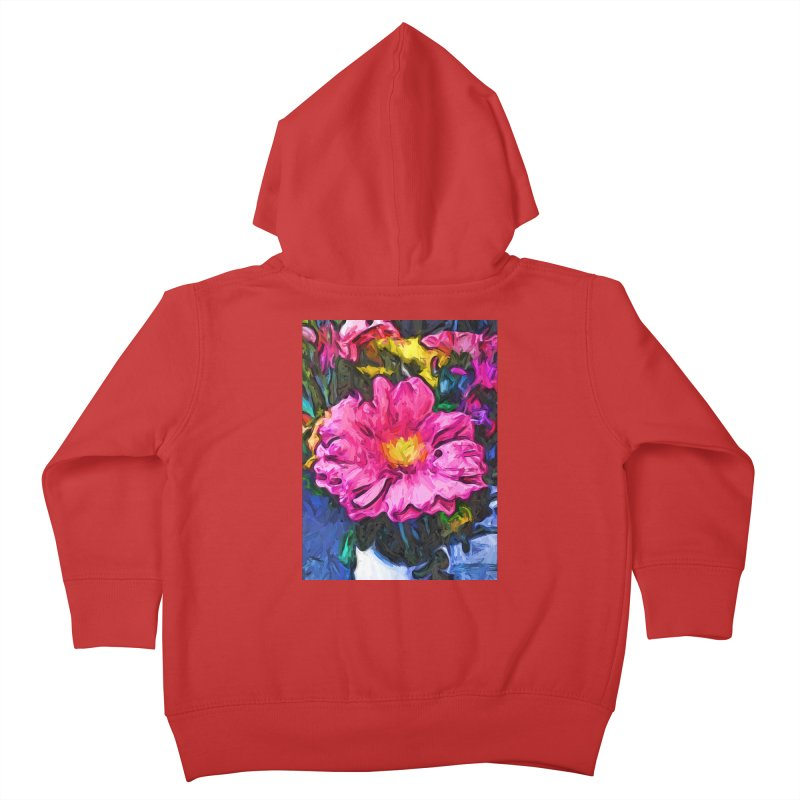 The Pink and Yellow Flower in the Vase Kids Toddler Zip-Up Hoody by jackievano's Artist Shop