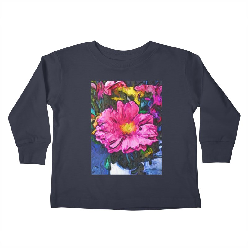 The Pink and Yellow Flower in the Vase Kids Toddler Longsleeve T-Shirt by jackievano's Artist Shop