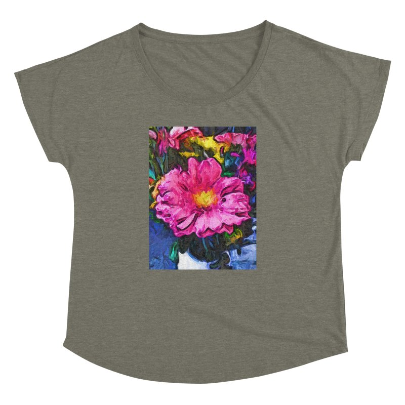 The Pink and Yellow Flower in the Vase Women's Dolman by jackievano's Artist Shop