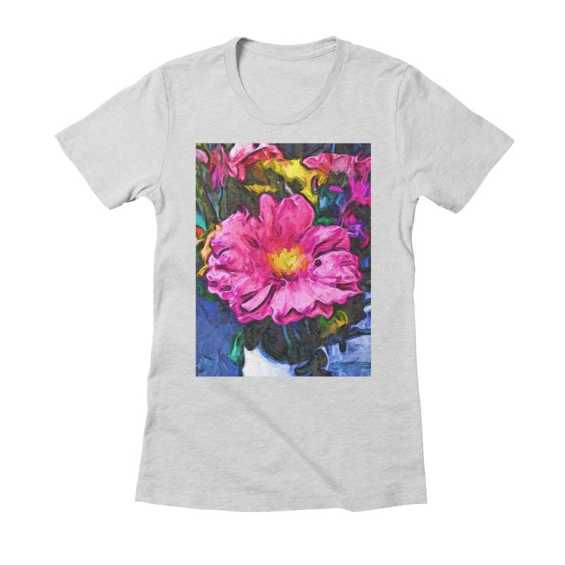 The Pink and Yellow Flower in the Vase Women's Fitted T-Shirt by jackievano's Artist Shop