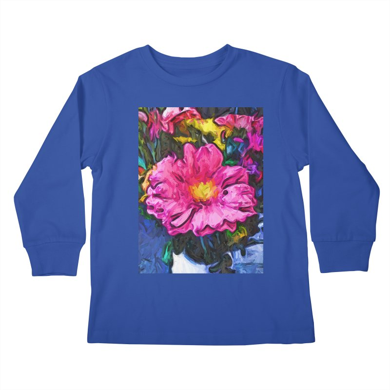 The Pink and Yellow Flower in the Vase Kids Longsleeve T-Shirt by jackievano's Artist Shop