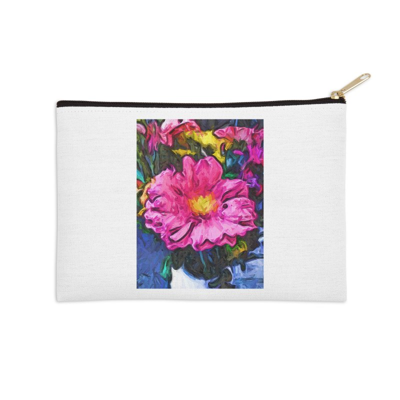 The Pink and Yellow Flower in the Vase Accessories Zip Pouch by jackievano's Artist Shop