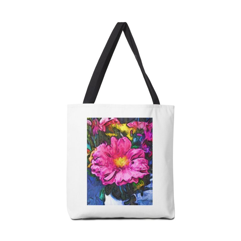 The Pink and Yellow Flower in the Vase Accessories Bag by jackievano's Artist Shop