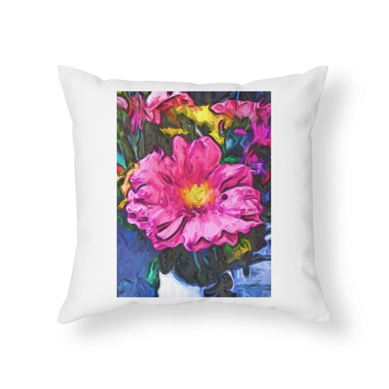 The Pink and Yellow Flower in the Vase Home Throw Pillow by jackievano's Artist Shop