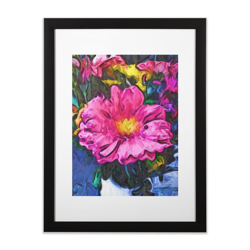 The Pink and Yellow Flower in the Vase Home Framed Fine Art Print by jackievano's Artist Shop