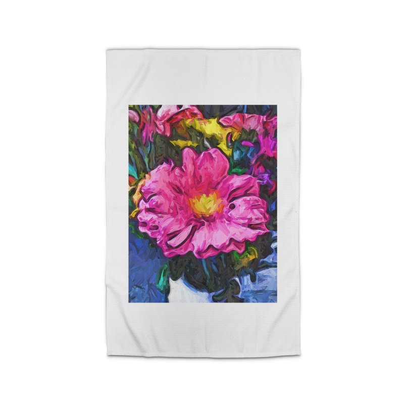 The Pink and Yellow Flower in the Vase Home Rug by jackievano's Artist Shop