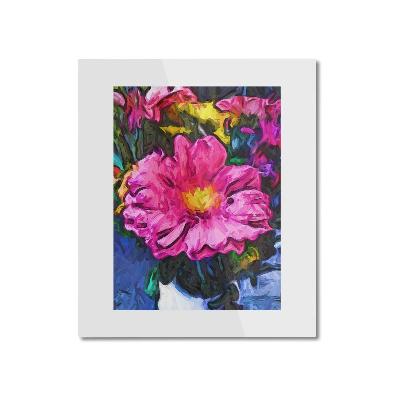 The Pink and Yellow Flower in the Vase Home Mounted Aluminum Print by jackievano's Artist Shop