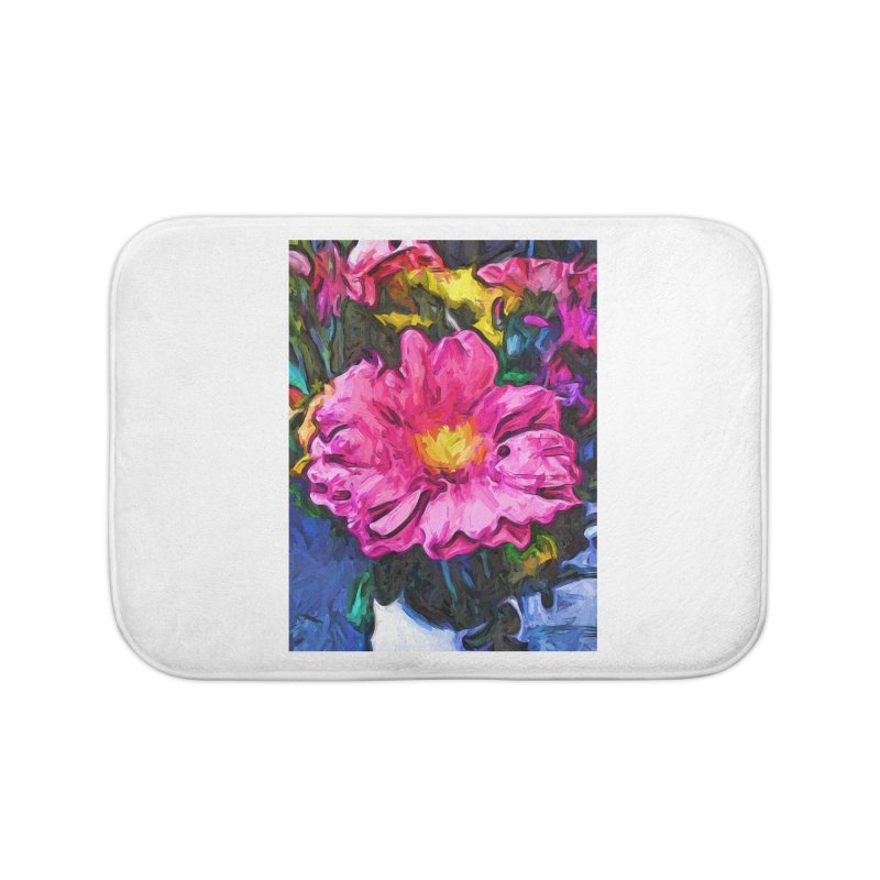 The Pink and Yellow Flower in the Vase Home Bath Mat by jackievano's Artist Shop