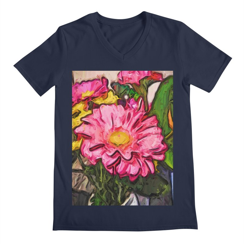 The Radiant Love of the Pink and Yellow Flower Men's V-Neck by jackievano's Artist Shop