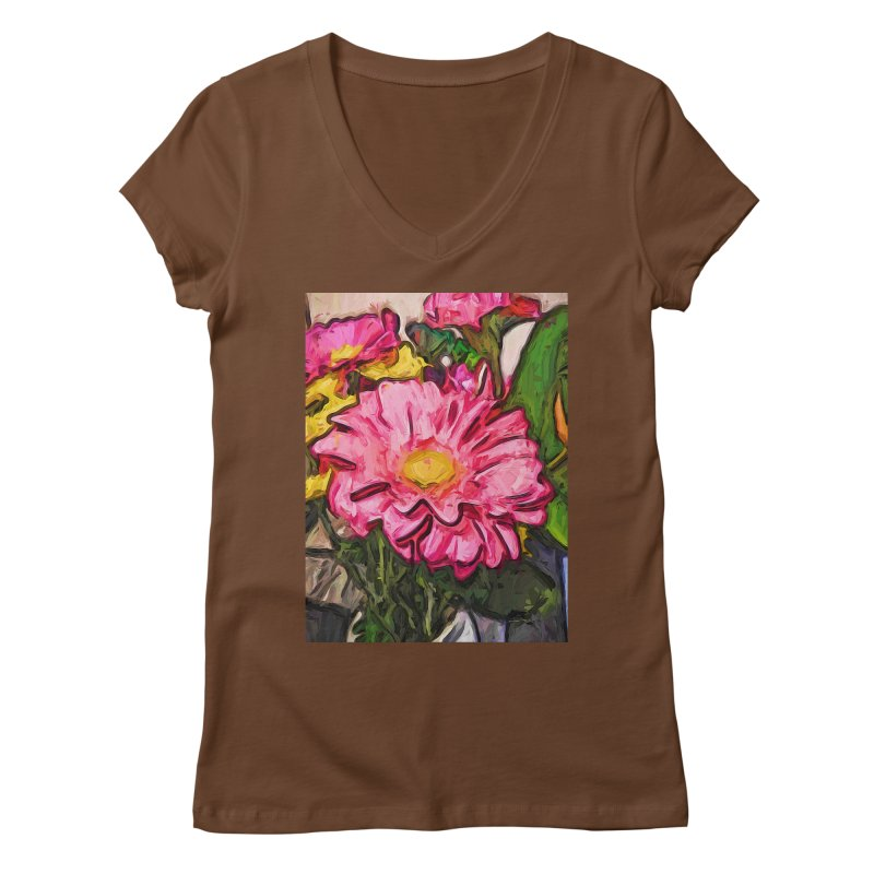The Radiant Love of the Pink and Yellow Flower Women's V-Neck by jackievano's Artist Shop