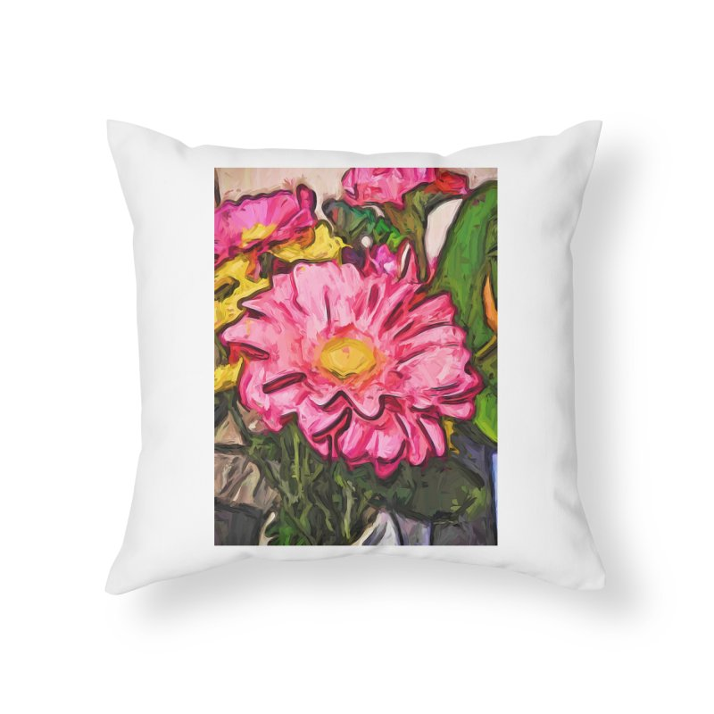 The Radiant Love of the Pink and Yellow Flower Home Throw Pillow by jackievano's Artist Shop