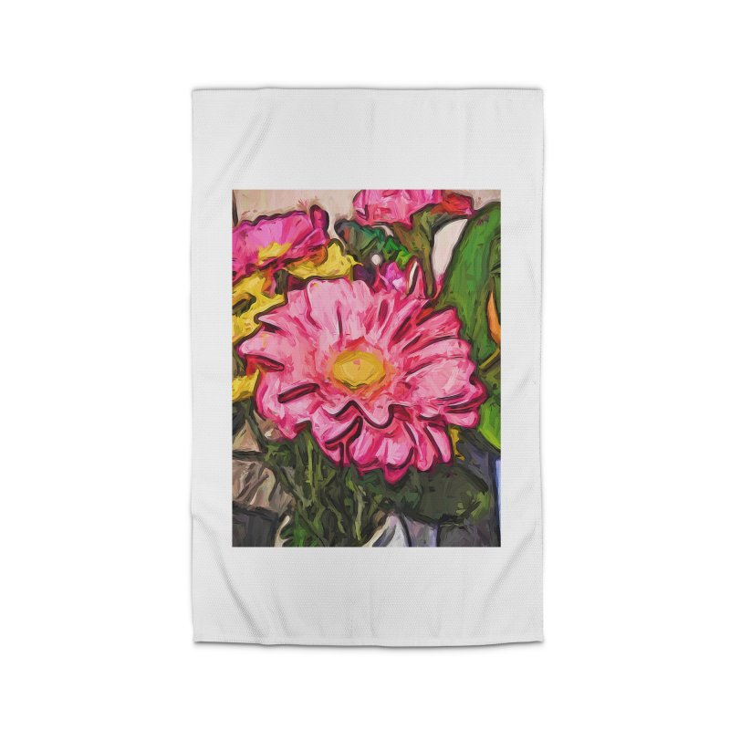 The Radiant Love of the Pink and Yellow Flower Home Rug by jackievano's Artist Shop