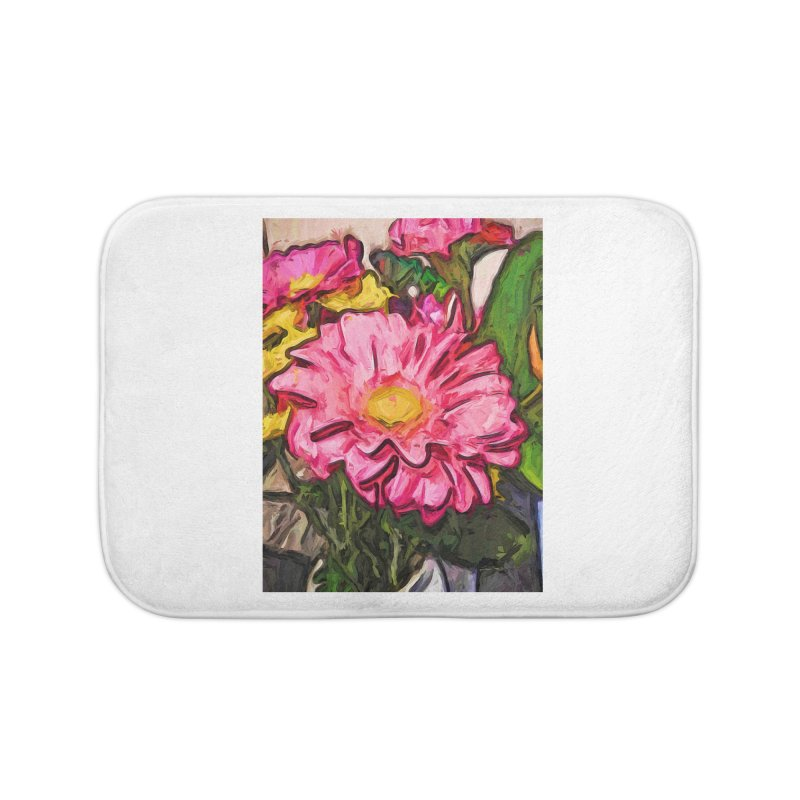 The Radiant Love of the Pink and Yellow Flower Home Bath Mat by jackievano's Artist Shop