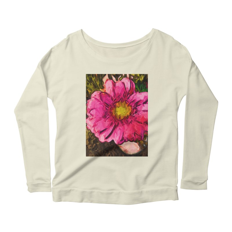 The Euphoria of the Pink and Yellow Flower Women's Longsleeve Scoopneck  by jackievano's Artist Shop