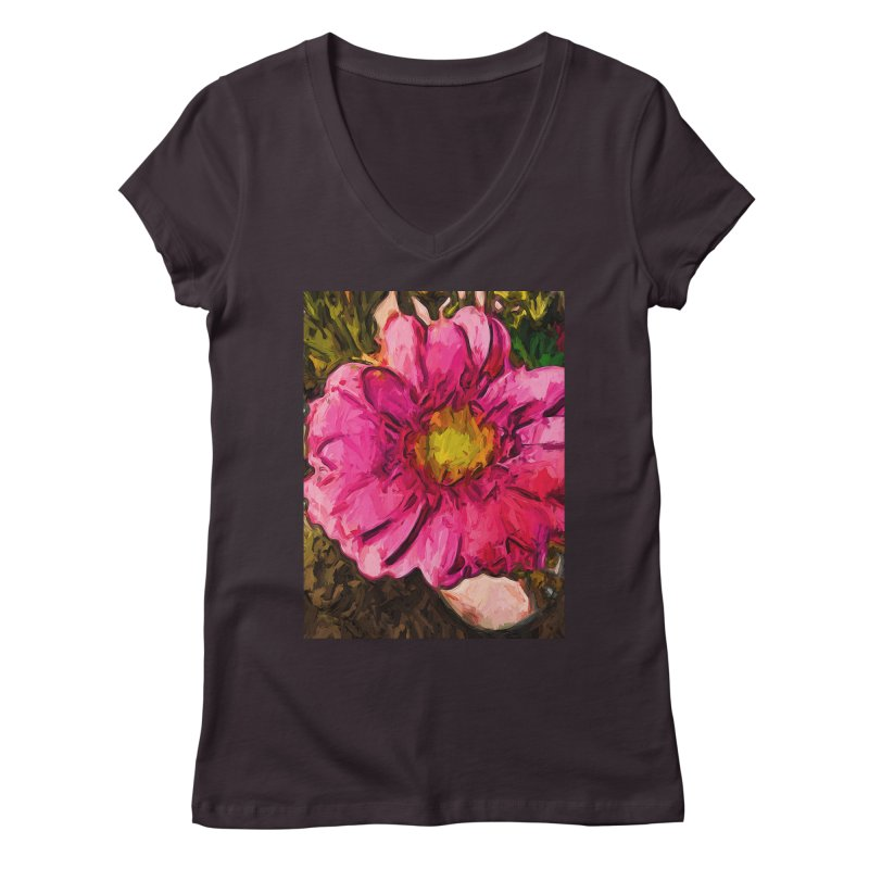 The Euphoria of the Pink and Yellow Flower Women's V-Neck by jackievano's Artist Shop